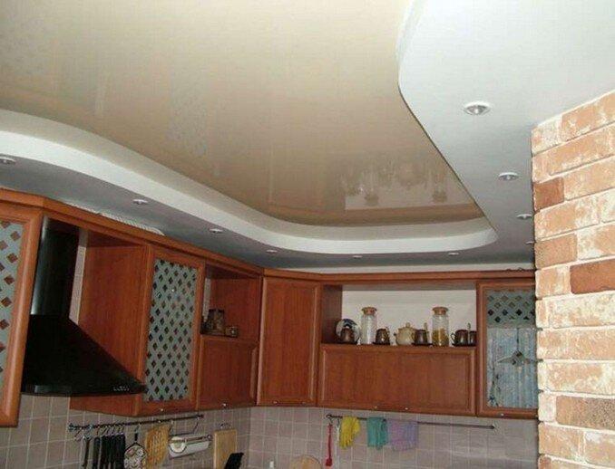 потолок на кухне гипсокартон и натяжной фото лучшей